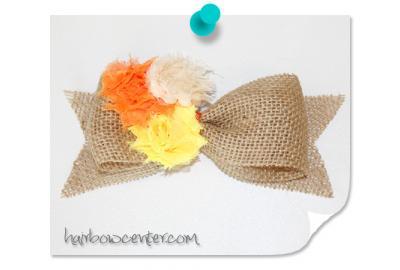 Shabby Candy Corn Burlap Hair-Bow