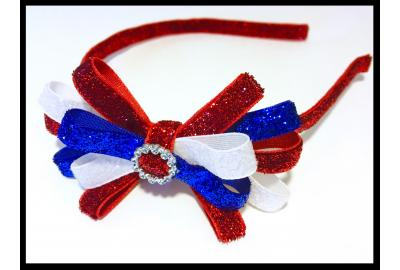 Sparkly Red, White & Blue glitter headband for all ages!