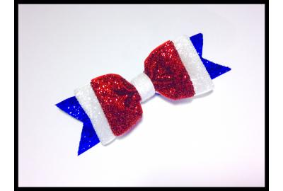 Easy 4th of July glitter hair bow!