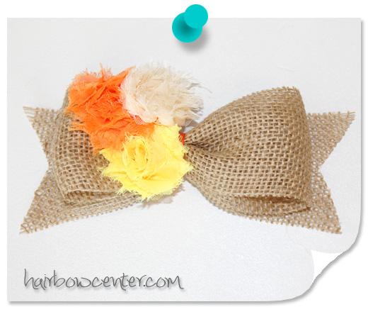 Burlap Fall Candy Corn Hair Bow