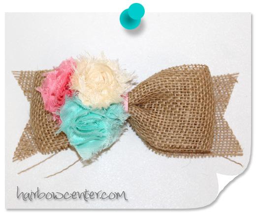 Shabby Flower Burlap Hair-Bow