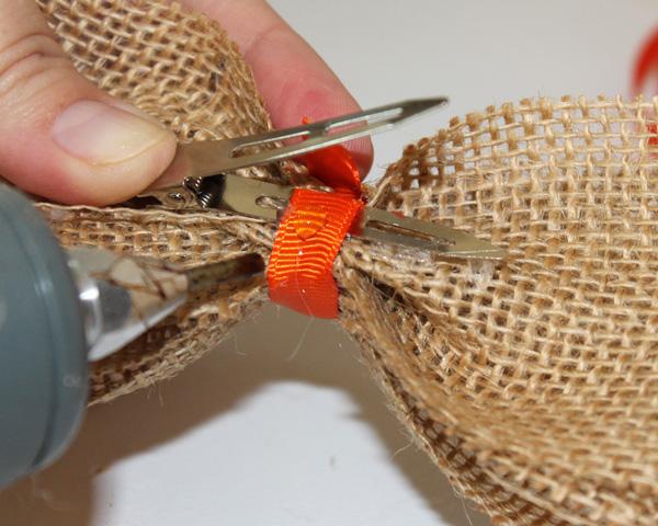 Burlap Hair-Bow Wrap Center Ribbon