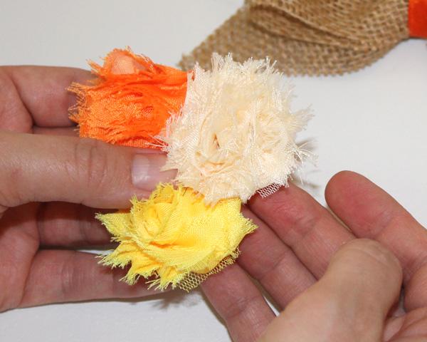 Burlap Hair-Bow Flower Cluster