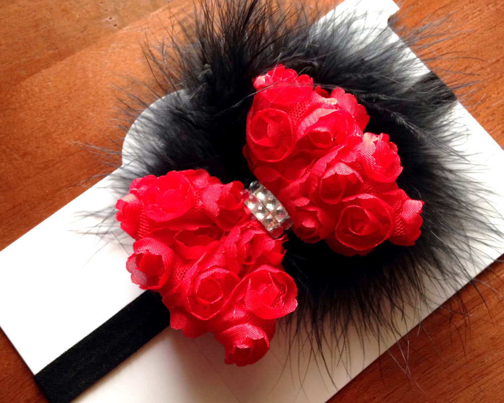 Marabou-and-shabby-bow-headband