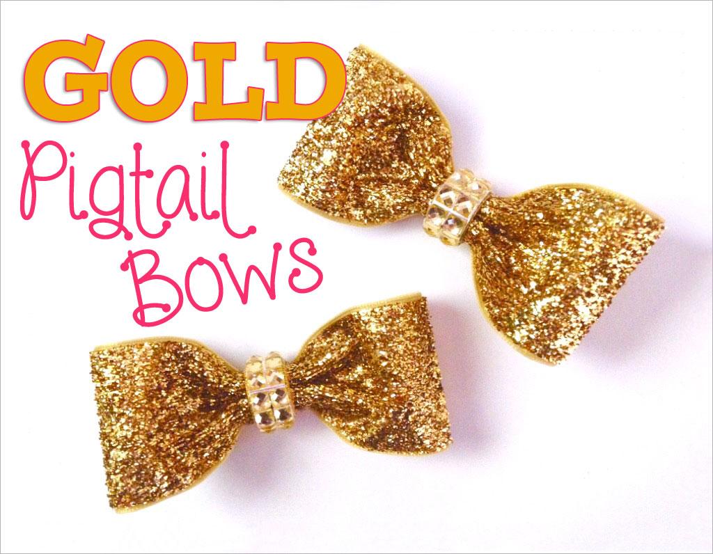 diy glitter gold bow tie hair bow