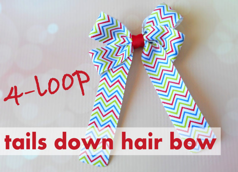 How to Make 4 Loop Tails Down Hair Bow