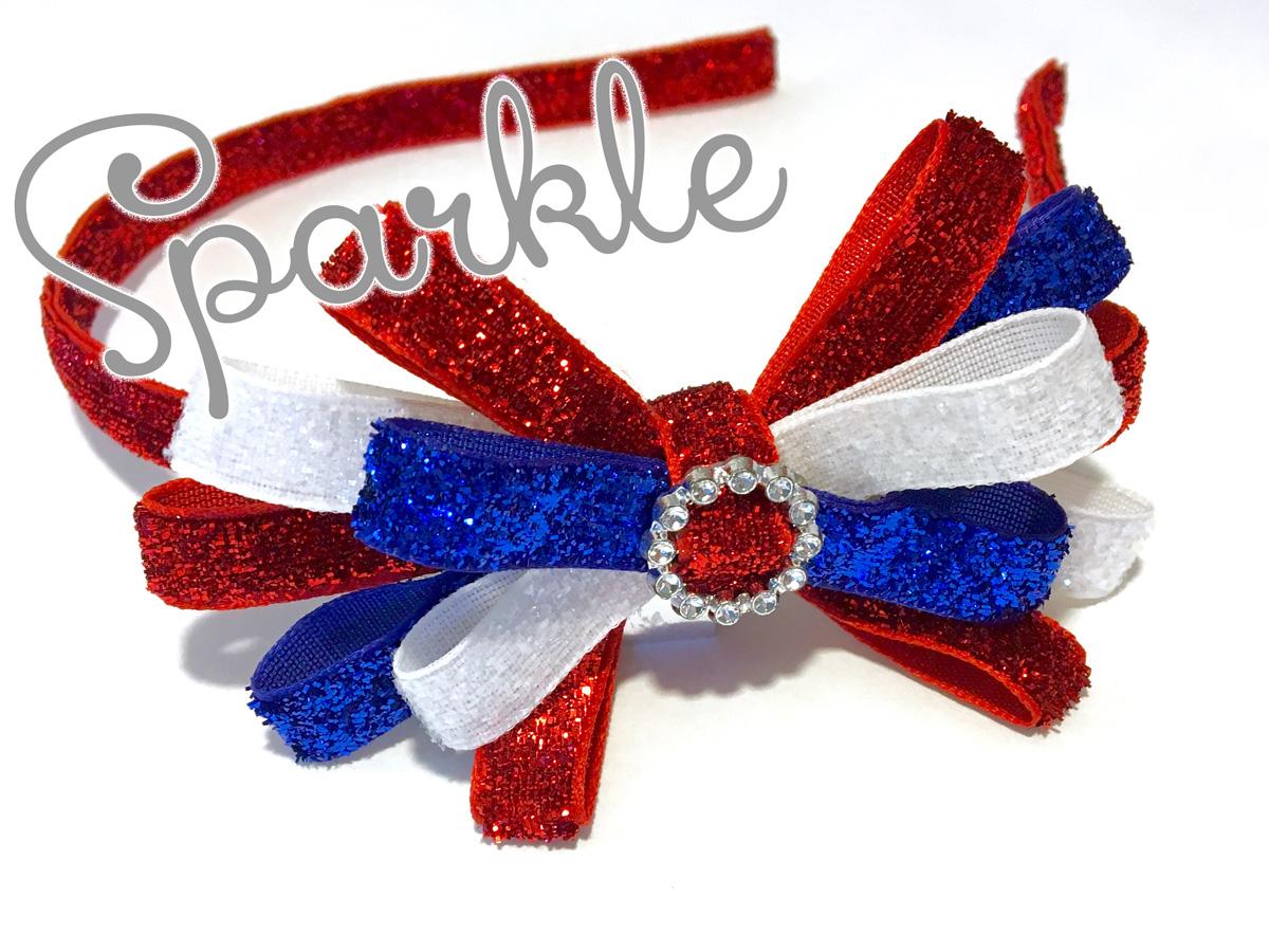 hand-made 4th of July sparkle headband