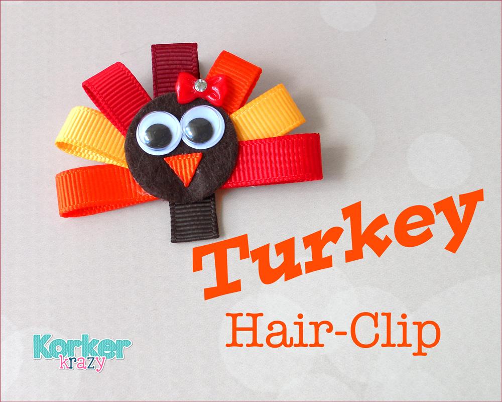 how to make a thanksgiving turkey hair clip