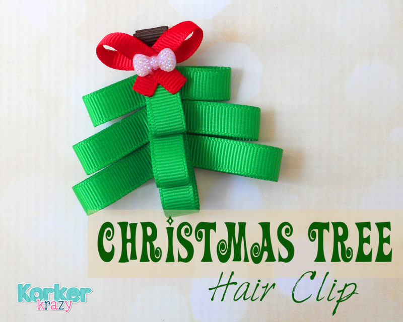 DIY hand-made christmas tree hair clip