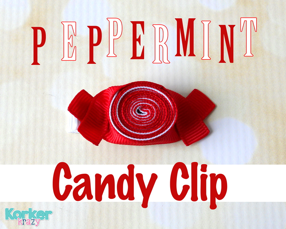 holiday peppermint candy ribbon sculpture hair clip