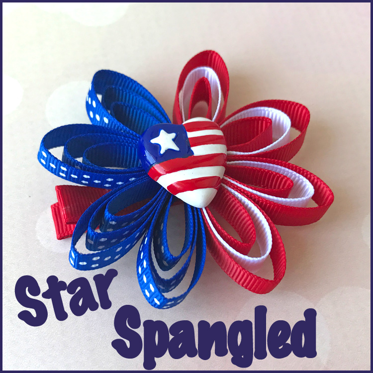 Fourth of July Red White and Blue hair clip Loopy flower hair bow