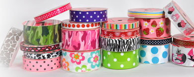 "3/8"" Printed Grosgrain Ribbon"