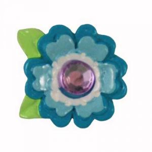 Blue Bling Flower Flatback Resin Embellishment