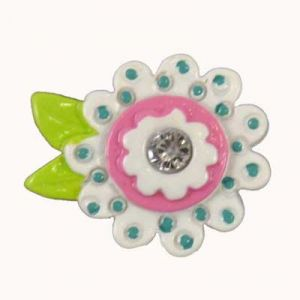 White Bling Flower Flatback Resin Embellishment