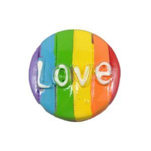LOVE Button Flatback Resin Embellishment