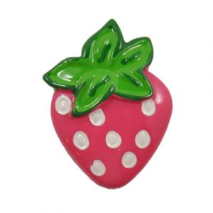 Hot Pink Strawberry Flatback Resin Embellishment