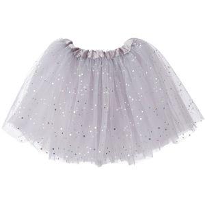 Little Girls Tutu 3-Layer Ballerina Sparkle (4 mo. - 3T) Silver