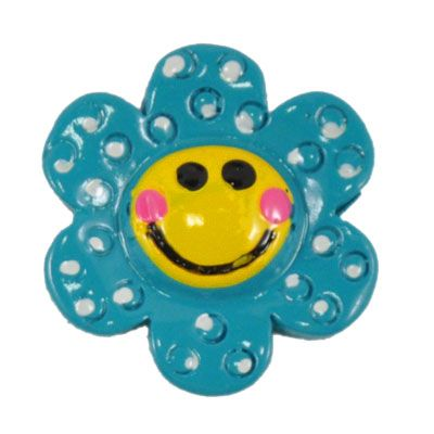 Blue Happy Daisy Flatback Resin Embellishment