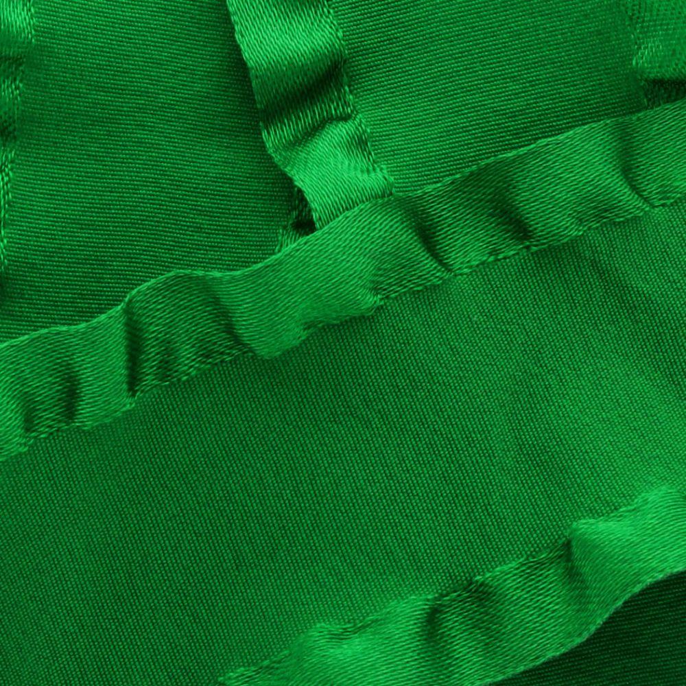 Emerald Satin Double Ruffle Ribbon