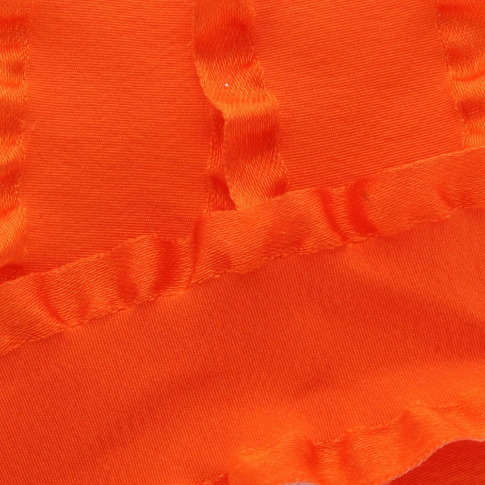 Orange Satin Double Ruffle Ribbon