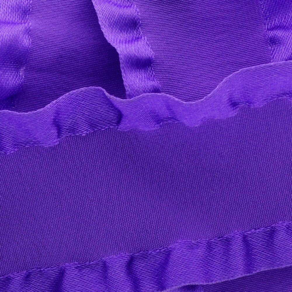Purple Satin Double Ruffle Ribbon