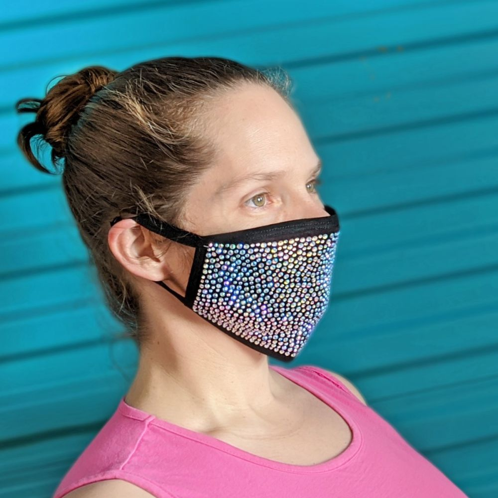 Rhinestone Cloth Face Masks with Filters