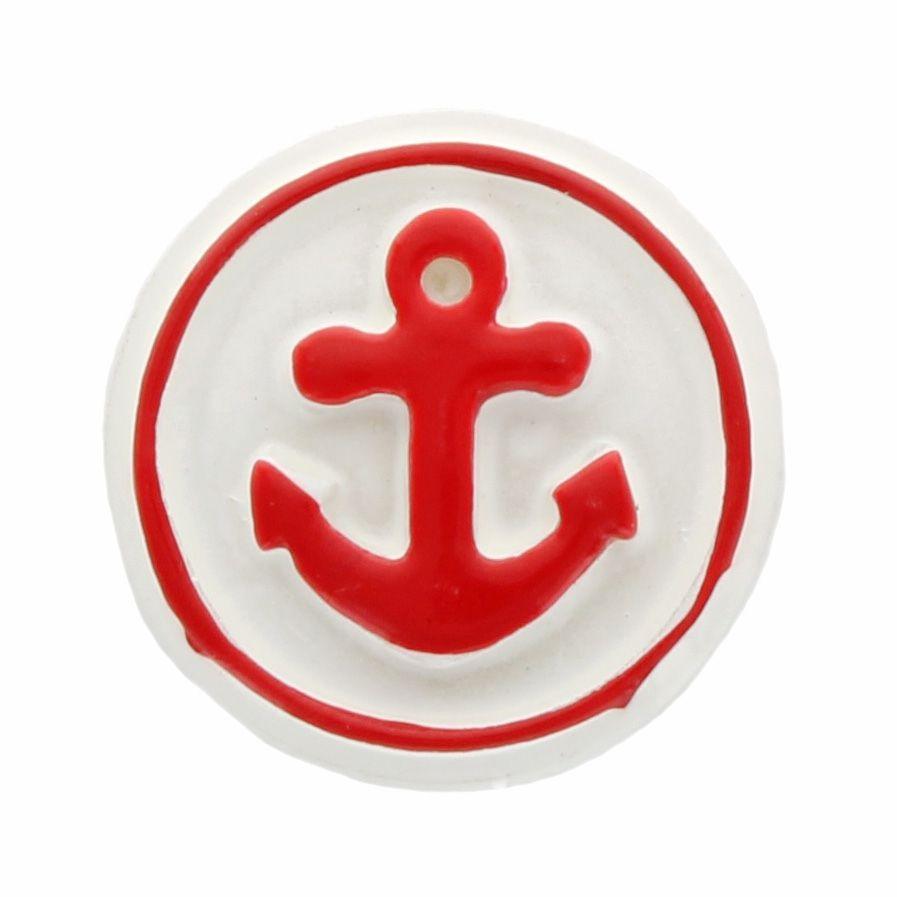 Red Nautical Anchor Flatback Resin Embellishment