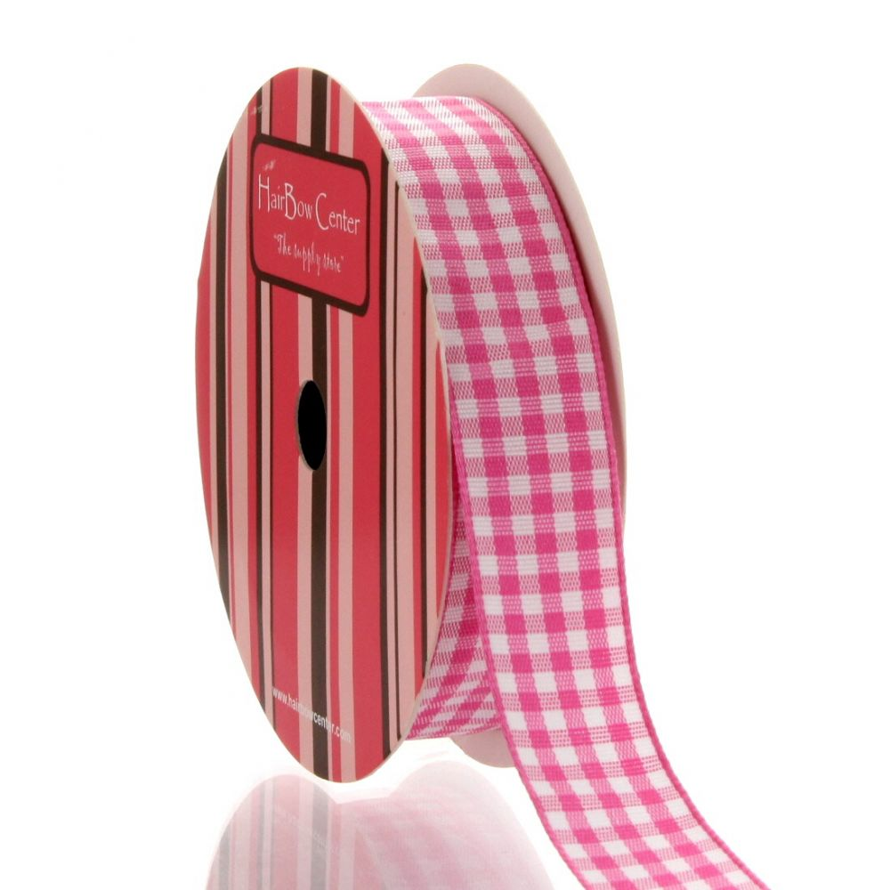 Hot Pink Gingham Plaid Ribbon