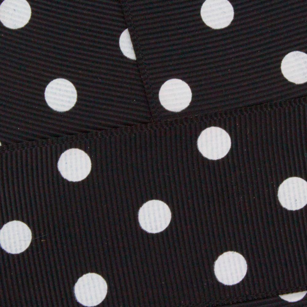 Black w/ White Dots Grosgrain Ribbon HBC