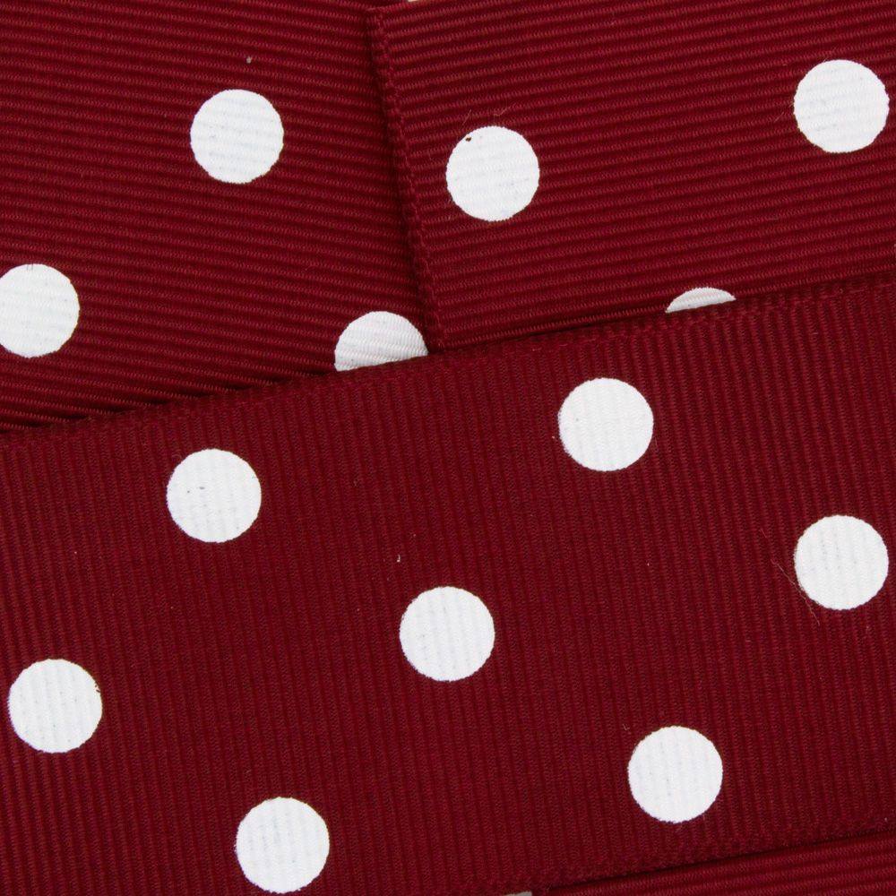Maroon w/ White Dots Grosgrain Ribbon HBC