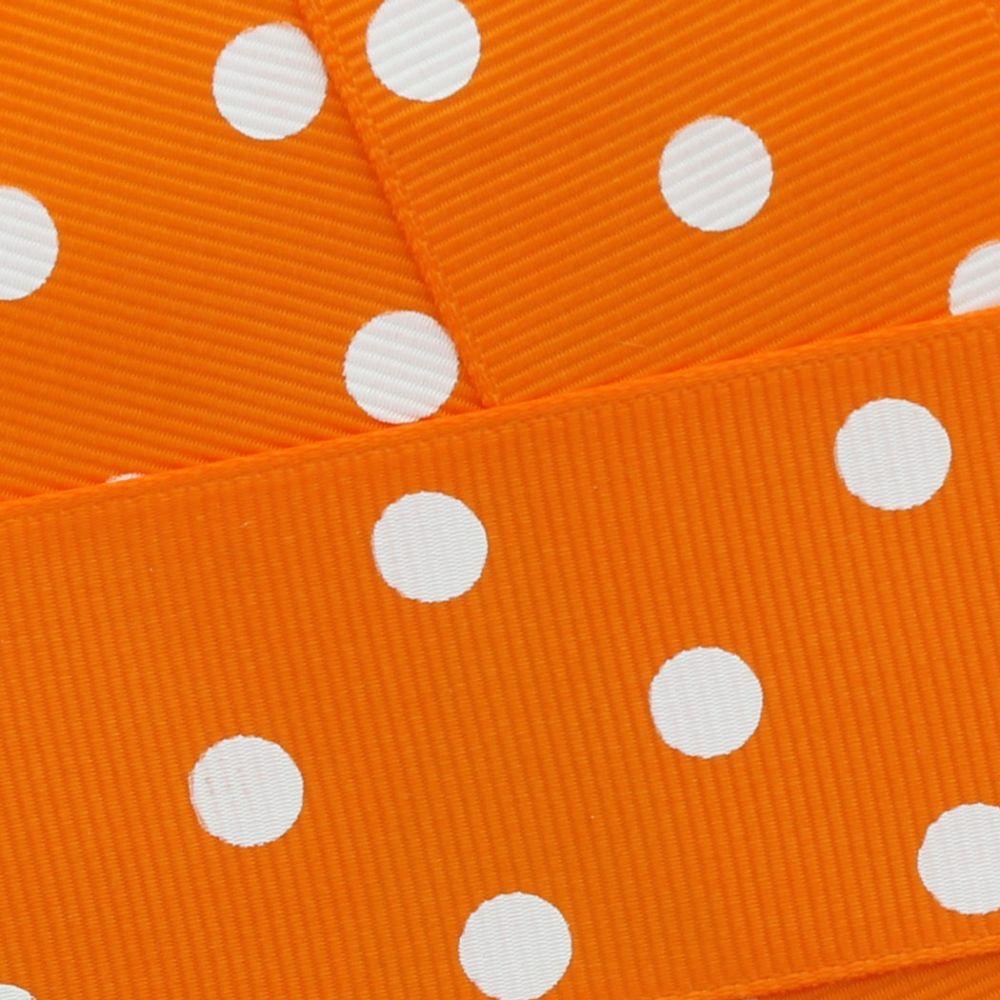 Tangerine Orange w/ White Dots Grosgrain Ribbon HBC