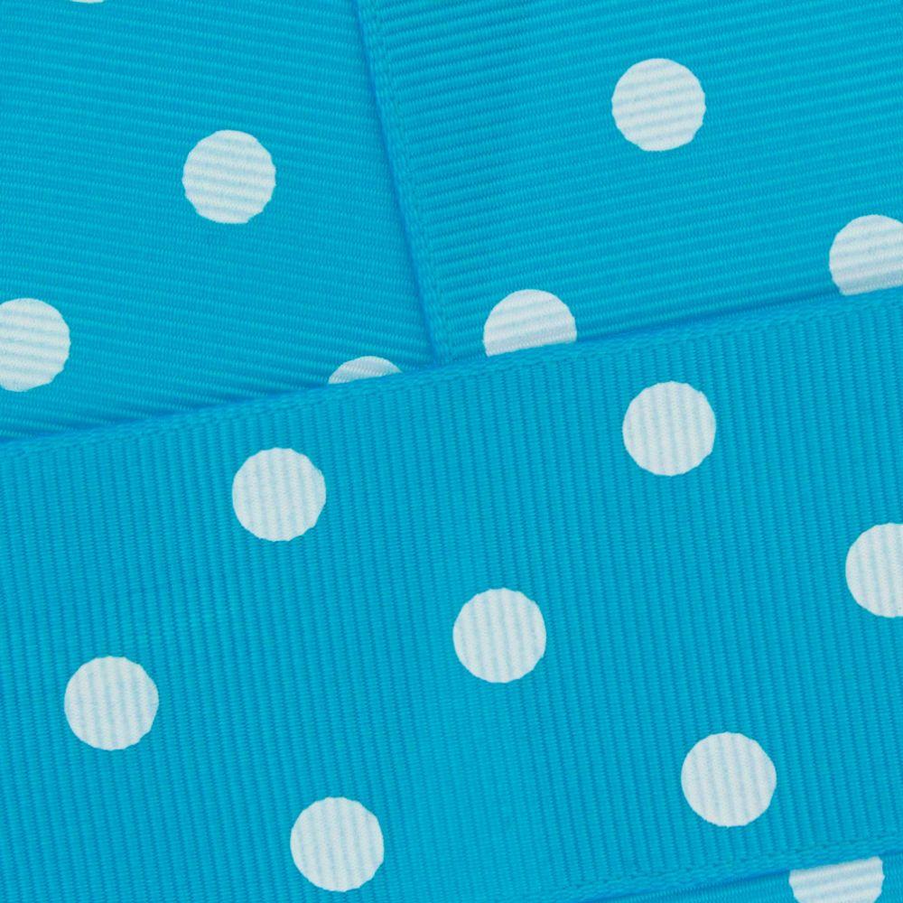 Turquoise w/ White Dots Grosgrain Ribbon HBC