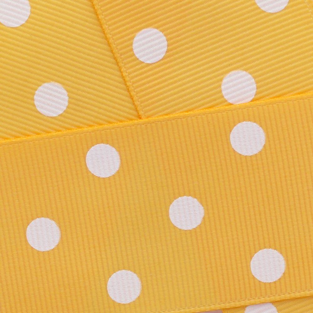 Yellow Gold w/ White Dots Grosgrain Ribbon HBC