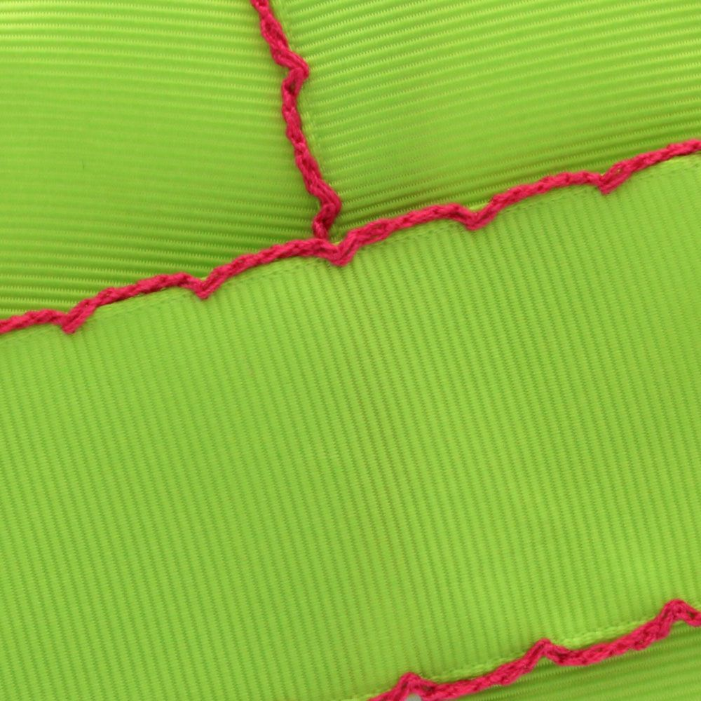 Apple Green/Shocking Pink Moonstitch Ribbon