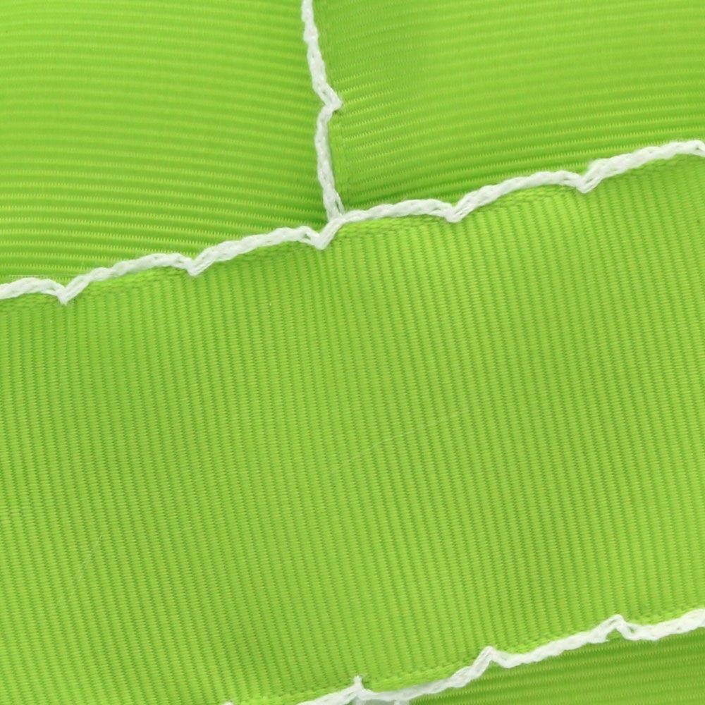 Apple Green/White Moonstitch Ribbon