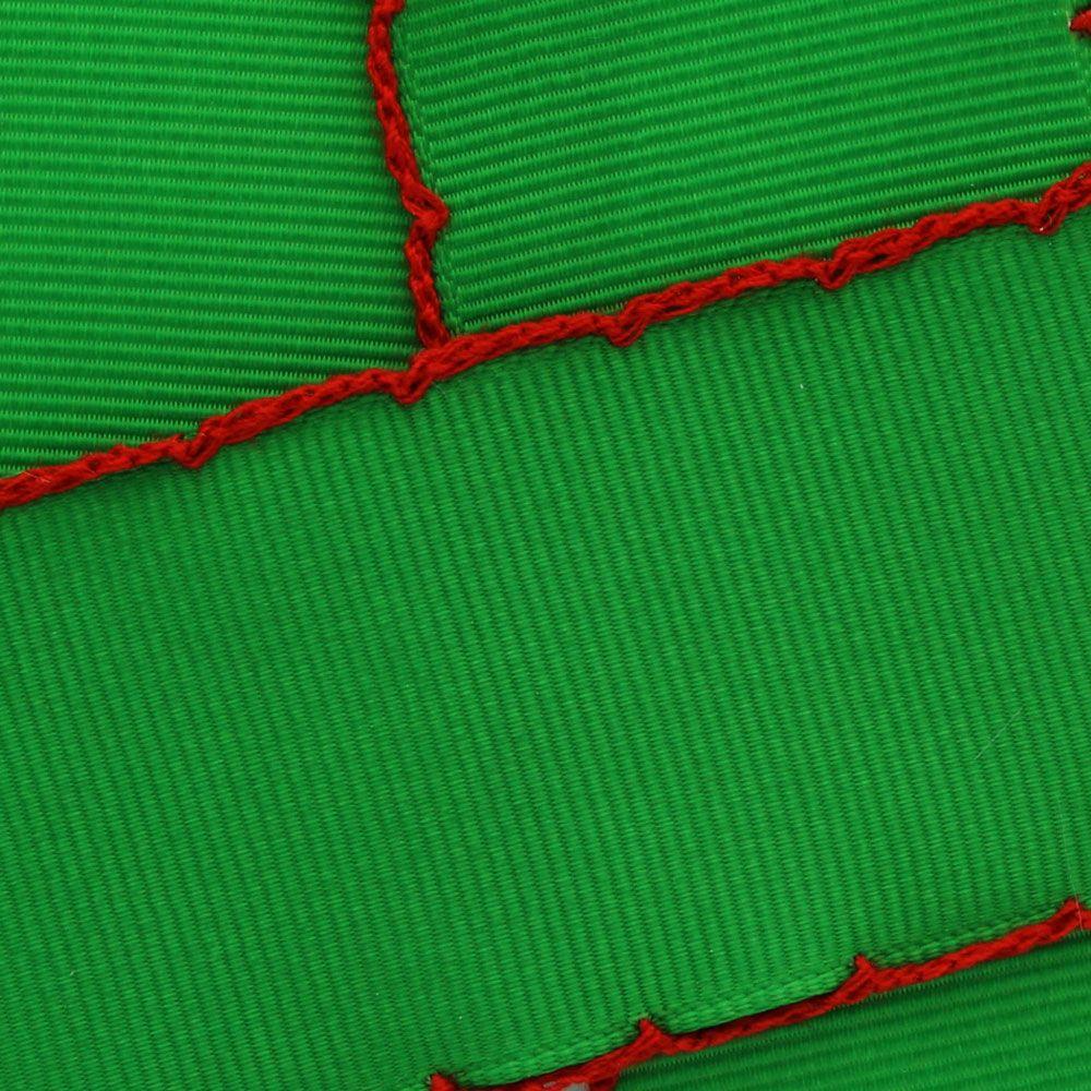 Emerald Green/Red Moonstitch Ribbon