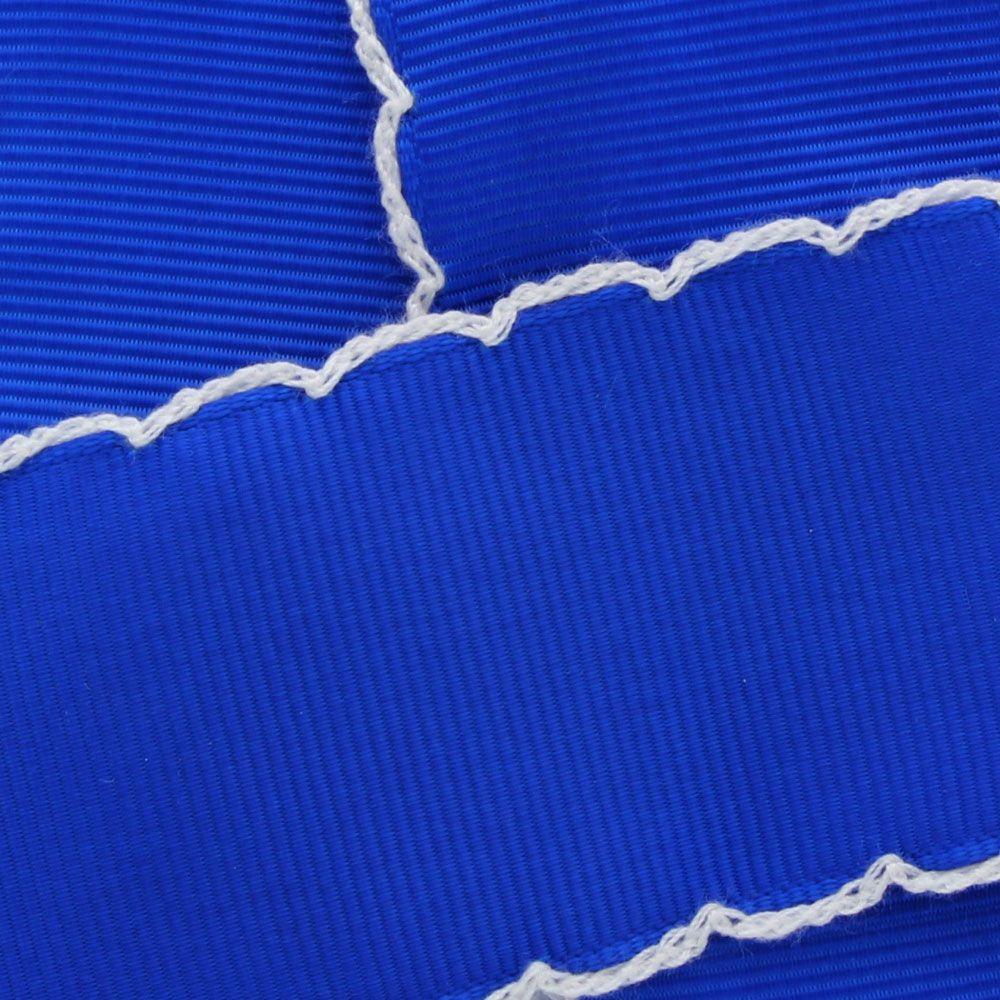 Royal Blue/White Moonstitch Ribbon
