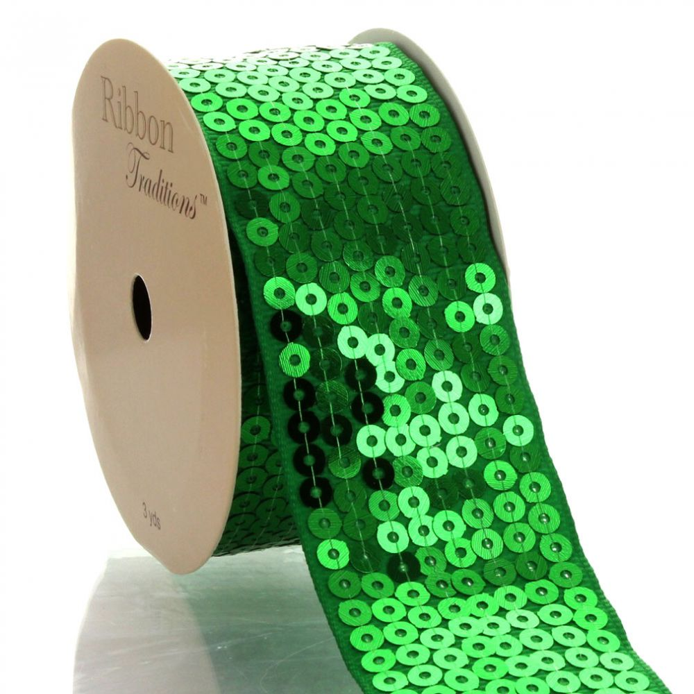 Emerald Green Sequin Grosgrain Ribbon
