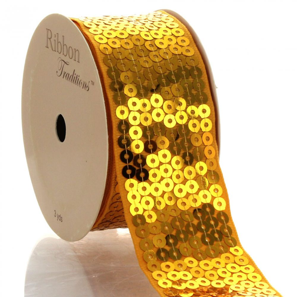Gold Sequin Grosgrain Ribbon