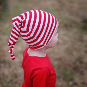 Small Child Red Stripes Long Knotted Tail Cotton Beanie