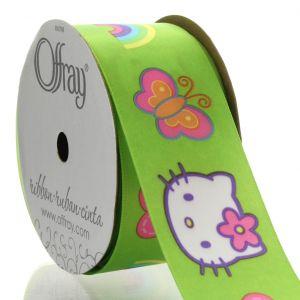 Fancy ribbon of 2.5 cm in large grain width little cat, hello kity ribbon