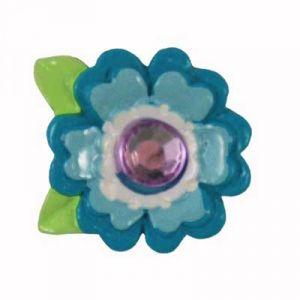Blue Bling Flower Flatback Resin Embellishment