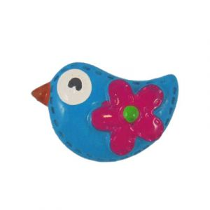 Blue Mod Bird Flatback Resin Embellishment