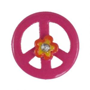Pink Peace Sign Daisy Flatback Resin Embellishment