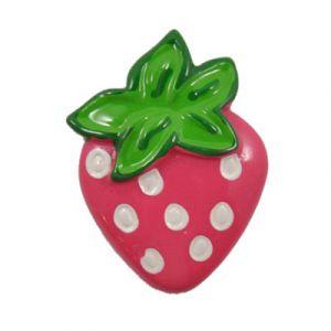 Hot Pink Strawberry Flatback Resin Embellishment