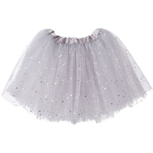 Big Girls Tutu 3-Layer Ballerina Sparkle (4T - 9) Silver