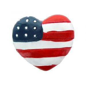 Flag Heart Flatback Resin Embellishment