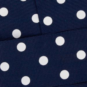 Navy Blue w/ White Dots Grosgrain Ribbon HBC