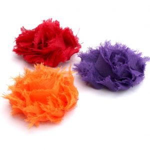 Shabby Chiffon Frayed Hair Flower 1.75 Cluster