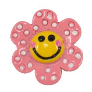 Pink Happy Daisy Flatback Resin Embellishment